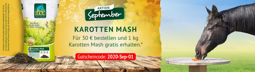 LEXA Pferdefutter Aktion im September Karotten Mash Gratis