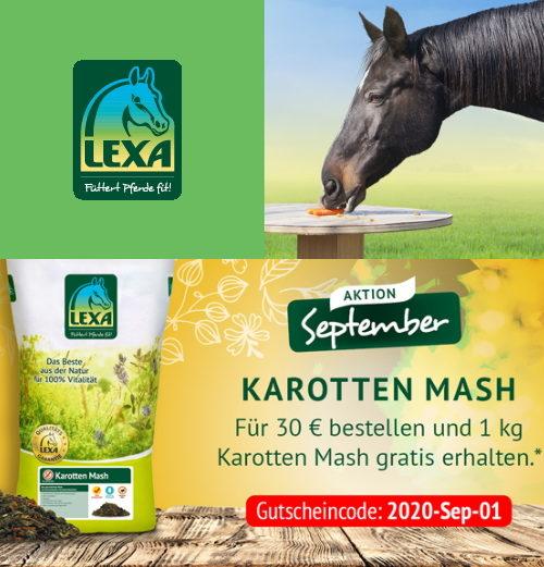 LEXA Pferdefutter Aktion im September 2020 Karotten Mash Gratis