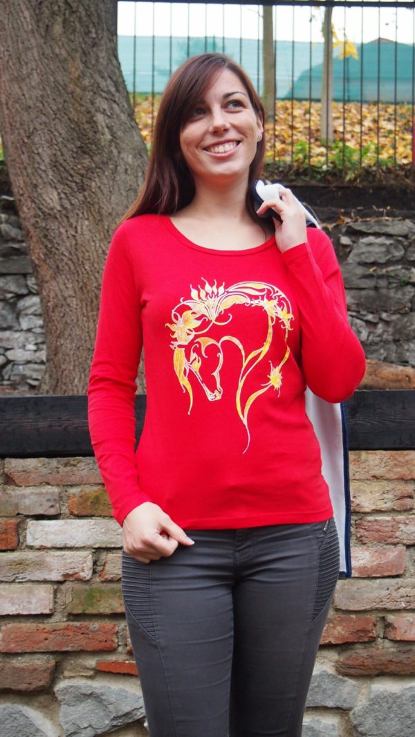 Bio-Shirt mit Pferdemotiv Rainbow