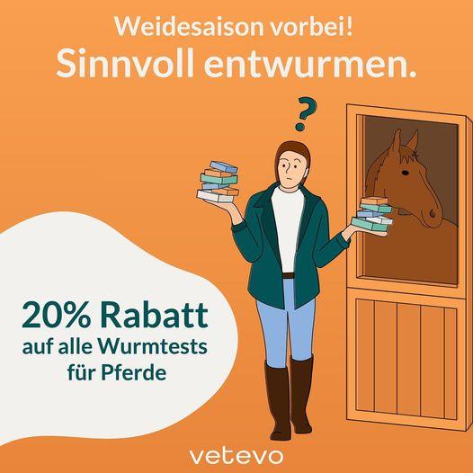 vetevo 20 % Rabatt auf ale Wurmtests für Pferde