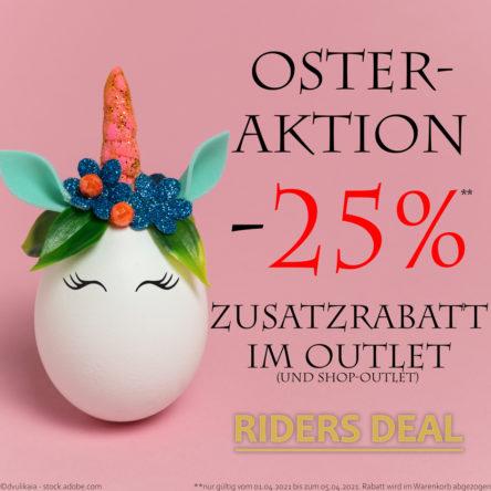 RidersDeal Oster-Aktion: 25 % Zusatzrabatt im Outlet