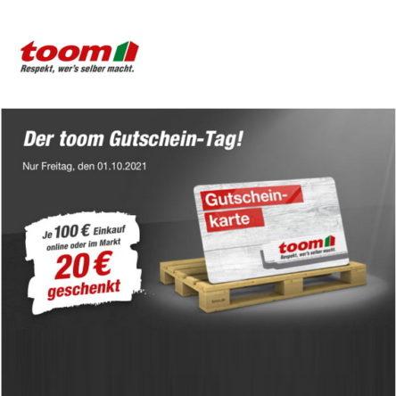 toom Gutschein-Tag: 20 € geschenkt je 100 € Einkauf